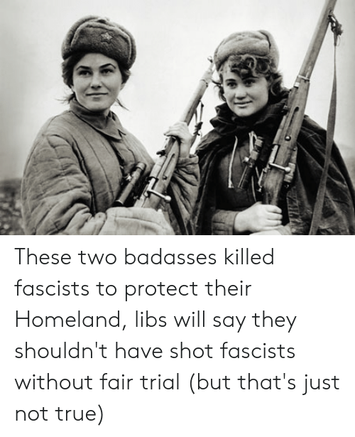 Badasses: These two badasses killed fascists to protect their Homeland, libs will say they shouldn't have shot fascists without fair trial (but that's just not true)