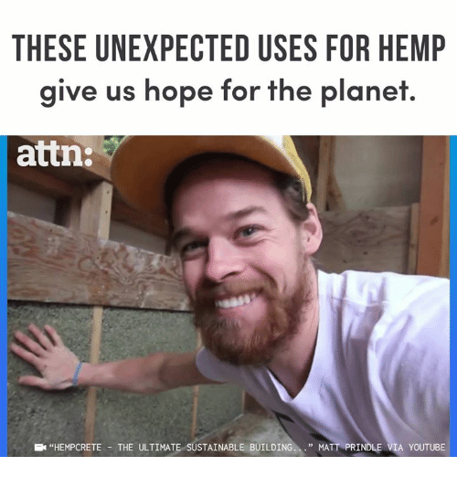"""Memes, youtube.com, and Hope: THESE UNEXPECTED USES FOR HEMP  give us hope for the planet.  attn:  """"HEMPCRETE -THE ULTIMATE SUSTAINABLE BUILDING.."""" MATT PRINDLE VIA YOUTUBE"""