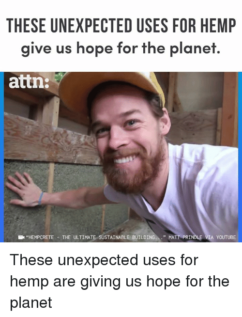 "Memes, youtube.com, and Hope: THESE UNEXPECTED USES FOR HEMP  give us hope for the planet.  attn:  ""HEMPCRETE -THE ULTIMATE SUSTAINABLE BUILDING.."" MATT PRINDLE VIA YOUTUBE These unexpected uses for hemp are giving us hope for the planet"