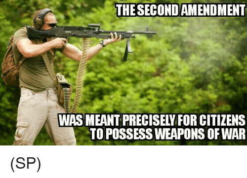 Memes, 🤖, and War: THESECONDAMENDMENT  WAS MEANT PRECISELY FOR CITIZENS  TO POSSESS WEAPONS OF WAR (SP)
