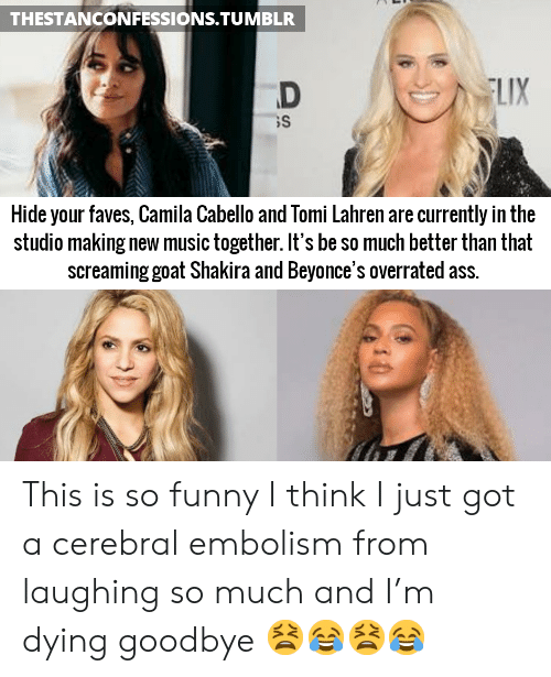 Camila Cabello: THESTANCONFESSIONS.TUMBLR  LIX  Hide your faves, Camila Cabello and Tomi Lahren are currently in the  studio making new music together. It's be so much better than that  screaming goat Shakira and Beyonce's overrated ass. This is so funny I think I just got a cerebral embolism from laughing so much and I'm dying goodbye 😫😂😫😂