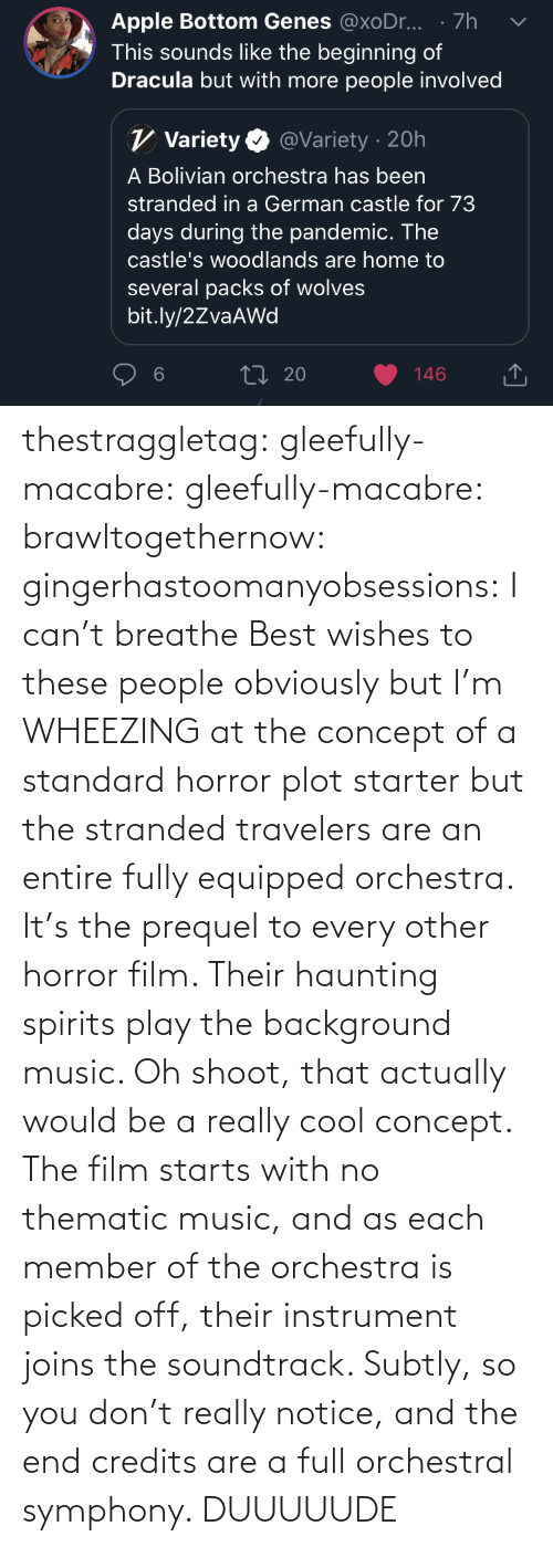 With: thestraggletag:  gleefully-macabre:  gleefully-macabre:   brawltogethernow:  gingerhastoomanyobsessions: I can't breathe Best wishes to these people obviously but I'm WHEEZING at the concept of a standard horror plot starter but the stranded travelers are an entire fully equipped orchestra.    It's the prequel to every other horror film. Their haunting spirits play the background music.     Oh shoot, that actually would be a really cool concept. The film starts with no thematic music, and as each member of the orchestra is picked off, their instrument joins the soundtrack. Subtly, so you don't really notice, and the end credits are a full orchestral symphony.   DUUUUUDE