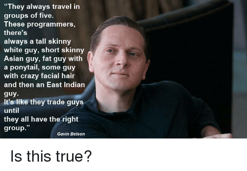 """Asian Guy: """"They always travel in  groups of five.  These programmers,  there'S  always a tall skinny  white guy, short skinny  Asian guy, fat guy with  a ponytail, some guy  with crazy facial hair  and then an East Indiarn  guy  It's like they trade guys  until  they all have the right  group.""""  Gavin Belson Is this true?"""