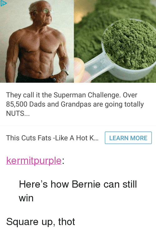 "Square Up: They call it the Superman Challenge. Over  85,500 Dads and Grandpas are going totally  NUTS  This Cuts Fats -Like A Hot K...LEARN MORE <p><a href=""http://kermitpurple.tumblr.com/post/157155697911/heres-how-bernie-can-still-win"" class=""tumblr_blog"">kermitpurple</a>:</p> <blockquote><p>Here's how Bernie can still win</p></blockquote>  <p>Square up, thot</p>"