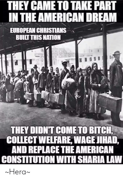 sharia: THEY CAME TO TAKE PART  IN THE AMERICAN DREAM  EUROPEAN CHRISTIANS  BUILT THIS NATION  THEY DIDNT COME TO BITCH  COLLECT WELFARE, WAGE JIHAD,  AND REPLACETHE AMERICAN  CONSTITUTION WITH SHARIA LAW ~Hera~