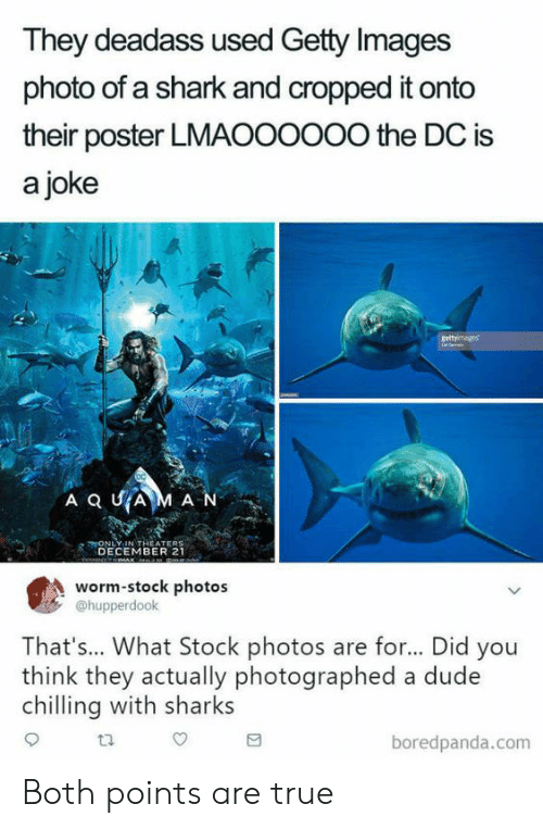Stock Photos: They deadass used Getty Images  photo of a shark and cropped it onto  their poster LMAOOOoOo the DC is  a joke  ONLY-IN THEATERS  DECEMBER 21  worm-stock photos  @hupperdook  That's... What Stock photos are for... Did you  think they actually photographed a dude  chlling with sharks  ta  boredpanda.com Both points are true