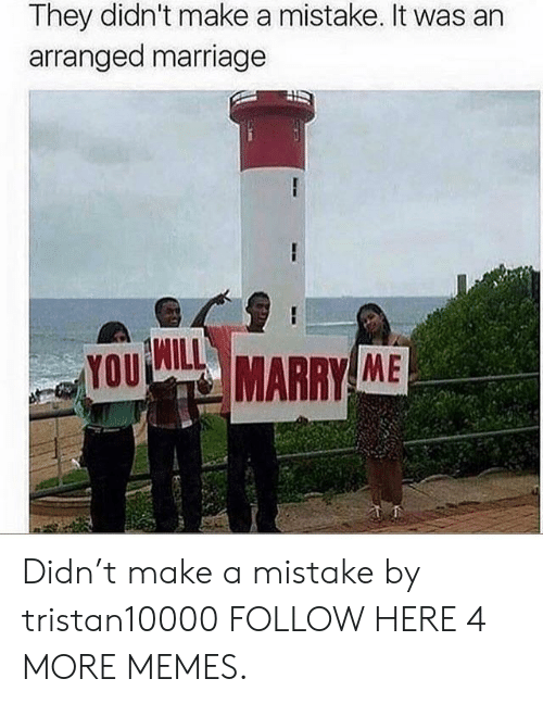 Arranged Marriage: They didn't make a mistake. It was an  arranged marriage  WILL  YOU  MARRY ME Didn't make a mistake by tristan10000 FOLLOW HERE 4 MORE MEMES.