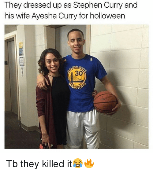 Ayesha Curry, Memes, and Stephen: They dressed up as Stephen Curry and  his wife Ayesha Curry for holloween  30  TARIO Tb they killed it😂🔥