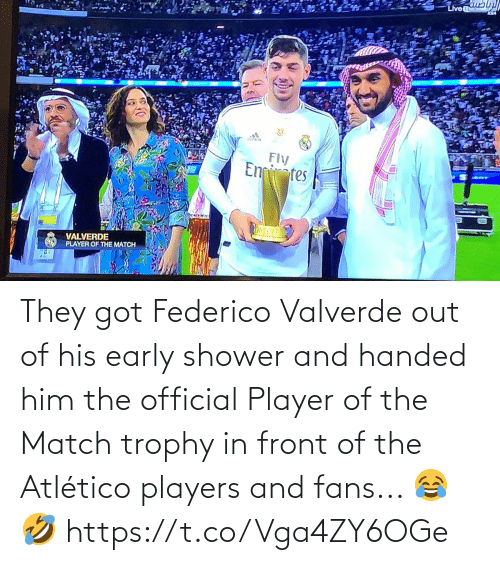Atletico: They got Federico Valverde out of his early shower and handed him the official Player of the Match trophy in front of the Atlético players and fans... 😂🤣 https://t.co/Vga4ZY6OGe