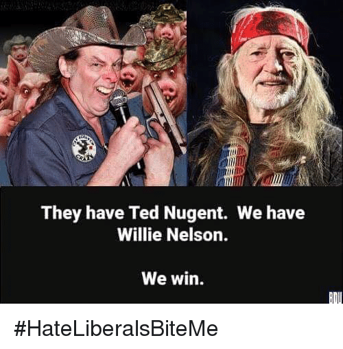 willie: They have Ted Nugent. We have  Willie Nelson.  We win. #HateLiberalsBiteMe