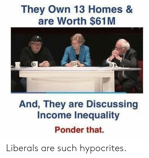 irs: They Own 13 Homes &  are Worth $61M  And, They are Discussing  Income Inequality  Irs  Ponder that. Liberals are such hypocrites.