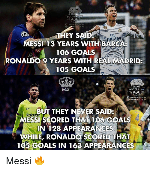 Appearances: THEY SAID  MESSI 13 YEARS WITH BARCA  106 GOALS  RONALDO 9 YEARS WITH REAL MADRID:  105 GOALS  mirates  MJJ  TROLL  FOOTBALL  們/TROLLFOOTBALL.HD  @rTROLLFOOTBALL.HD  BUT THEY NEVER SAID:  Raku  MESSI SCORED THAT 100 GOALS  IN 128 APPEARANCES  WHILE, RONALDO SCORED THAT  105 GOALS IN 163 APPEARANCES Messi 🔥
