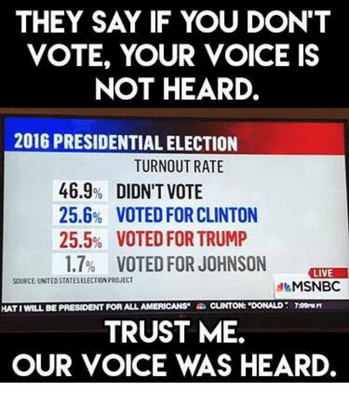 THEY SAY IF YOU DON'T VOTE YOUR VOICE IS NOT HEARD 2016 ...