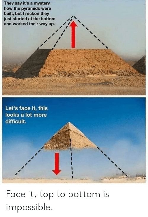 Mystery: They say it's a mystery  how the pyramids were  built, but I reckon they  just started at the bottom  and worked their way up.  Let's face it, this  looks a lot more  difficult. Face it, top to bottom is impossible.