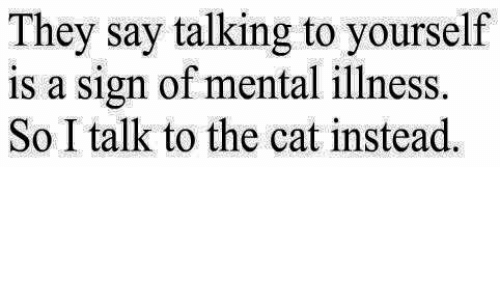 Memes, 🤖, and Cat: They say talking to yourself  is a sign of mental illness.  So I talk to the cat instead.
