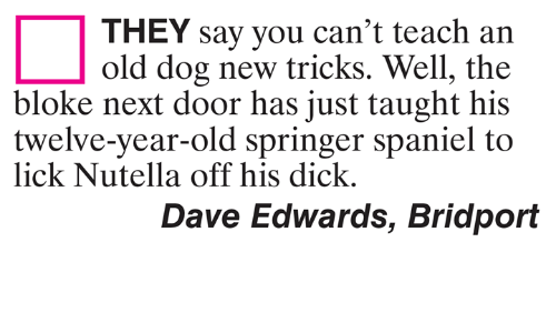 Nutella: THEY say you can't teach an  old dog new tricks. Well, the  bloke next door has just taught his  twelve-year-old springer spaniel to  lick Nutella off his dick.  Dave Edwards, Bridport