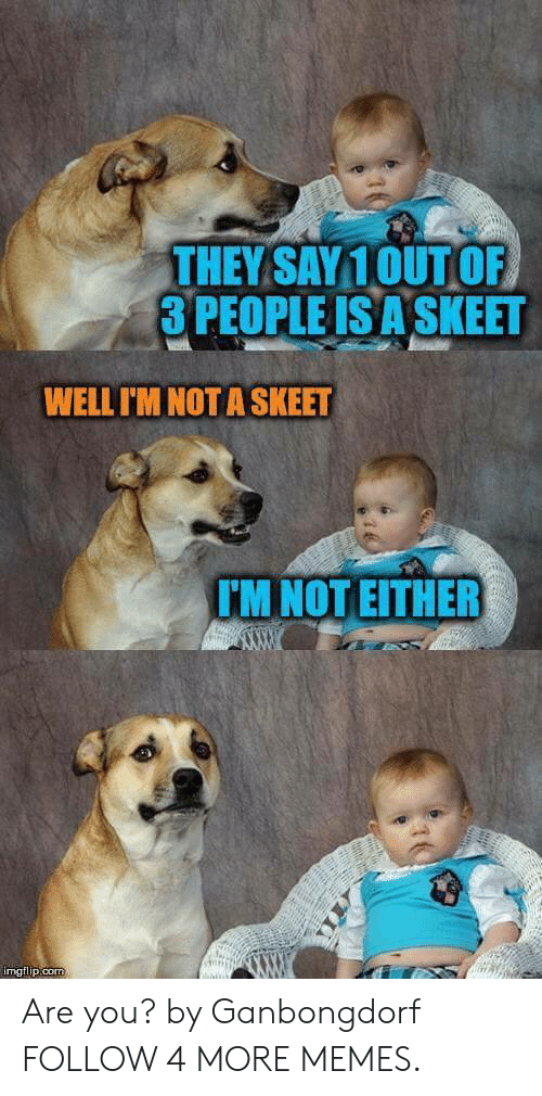 skeet: THEY SAY10UT OF  3 PEOPLE IS A SKEET  WELL I'M NOT A SKEET  TM NOT EITHER  imgflip.com Are you? by Ganbongdorf FOLLOW 4 MORE MEMES.
