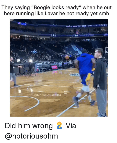 """Golden State: They saying """"Boogie looks ready"""" when he out  here running like Lavar he not ready yet smh  Lu  GOLDEN STATE  MILWAUKEE  @NotoriousOHM Did him wrong 🤦♂️ Via @notoriousohm"""