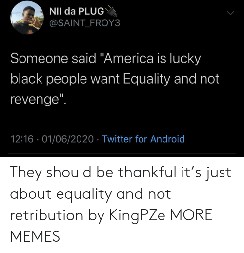 equality: They should be thankful it's just about equality and not retribution by KingPZe MORE MEMES
