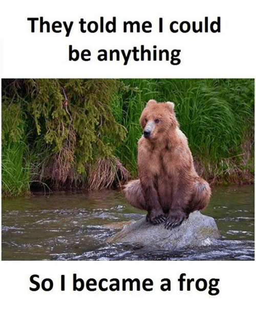 Frog, Frogs, and  Told Me: They told me I could  be anything  So I became a frog