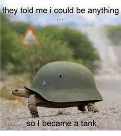 Memes, 🤖, and Tank: they told me i could be anything  So I became a tank