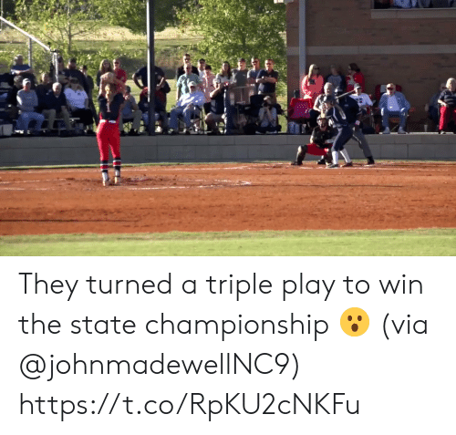 triple: They turned a triple play to win the state championship 😮 (via @johnmadewellNC9) https://t.co/RpKU2cNKFu