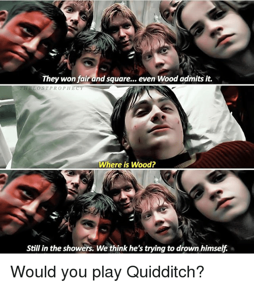 Memes, 🤖, and Play: They won fair and square.  even Wood admits it.  THE LOST PROPHECY  Where is Wood?  Still in the showers. We think he's trying to drown himself Would you play Quidditch?