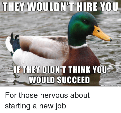 Starting A New Job: THEY WOULDN'T HIRE YOU  THEY DI  WOULD SUCCEED For those nervous about starting a new job