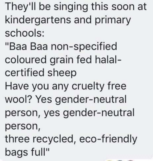 """gender neutral: They'll be singing this soon at  kindergartens and primary  schools:  """"Baa Baa non-specified  coloured grain fed halal-  certified sheep  Have you any cruelty free  wool? Yes gender-neutral  person, yes gender-neutral  person,  three recycled, eco-friendly  bags full"""""""