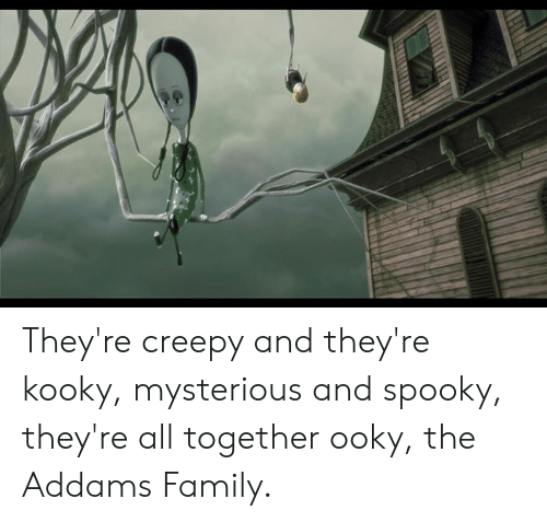 addams family: They're creepy and they're kooky, mysterious and spooky, they're all together ooky, the Addams Family.