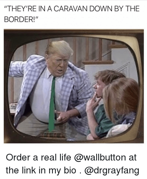 "caravan: ""THEY'RE IN A CARAVAN DOWN BY THE  BORDER!"" Order a real life @wallbutton at the link in my bio . @drgrayfang"