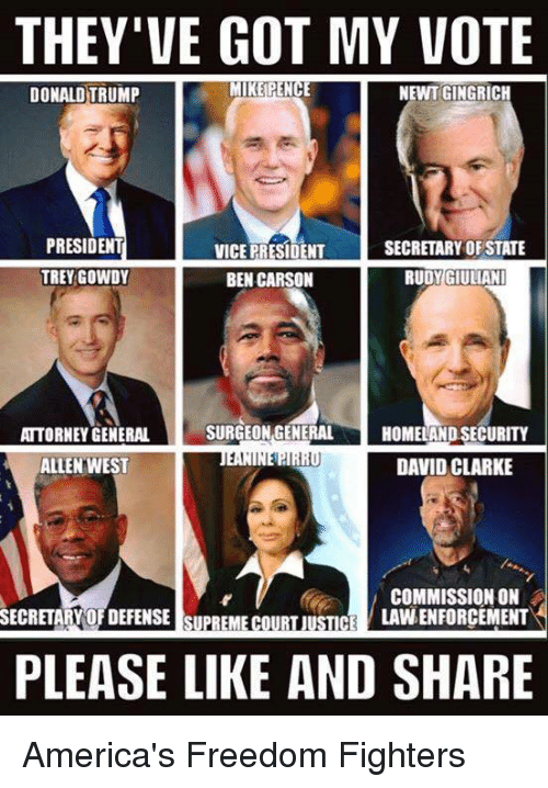 trey gowdy: THEY'VE GOT MY VOTE  MIKE PENCE  NEWT GINGRICH  DONALD TRUMP  PRESIDENT  SECRETARY OF STATE  VICE PRESIDENT  TREY GOWDY  BEN CARSON  RUDY GIULIANI  SURGEON GENERAL  ATTORNEY GENERAL  HOMELAND SECURITY  1,1  DAVID CLARKE  ALLEN WEST  COMMISSION ON  LAVNENFORCEMENT  SECRETARY OFDEFENSE SUPREME COURT JUSTICE  PLEASE LIKE AND SHARE America's Freedom Fighters