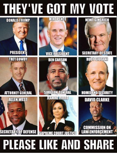 trey gowdy: THEY'VE GOT MY VOTE  MIKE PENCE  NEWT GINGRICH  DONALD TRUMP  PRESIDENT  SECRETARY OF STATE  VICE PRESIDENT  TREY GOWDY  RUDY GIULIANI  BEN CARSON  SURGEON GENERAL  ATTORNEY GENERAL  HOMELAND SECURITY  1,I  DAVID CLARKE  ALLEN WEST  COMMISSION ON  LAVNENFORCEMENT  SECRETARY OFDEFENSE SUPREME COURT JUSTICE  PLEASE LIKE AND SHARE