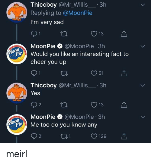 moonpie: Thiccboy @Mr_Willis.3h  Replying to @MoonPie  I'm very sad  13  MoonPie @MoonPie 3h  on  Pould you like an interesting fact to  cheer you up  O51  Thiccboy @Mr_Willis.3h  Yes  O13  MoonPie @MoonPie 3h  oon  ylopie Me too do you know any  O129 meirl