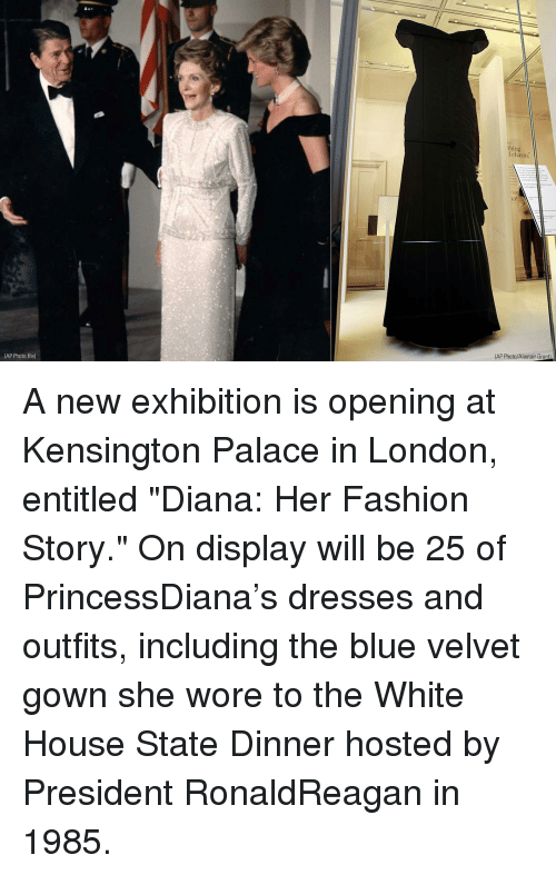 "white houses: thing  claim:  AP Photo/Alastair Grant  (AP Photo,file) A new exhibition is opening at Kensington Palace in London, entitled ""Diana: Her Fashion Story."" On display will be 25 of PrincessDiana's dresses and outfits, including the blue velvet gown she wore to the White House State Dinner hosted by President RonaldReagan in 1985."
