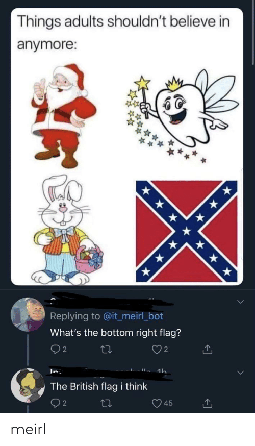 bot: Things adults shouldn't believe in  anymore:  Replying to @it_meirl_bot  What's the bottom right flag?  2  2  1h  In  The British flag i think  45 meirl