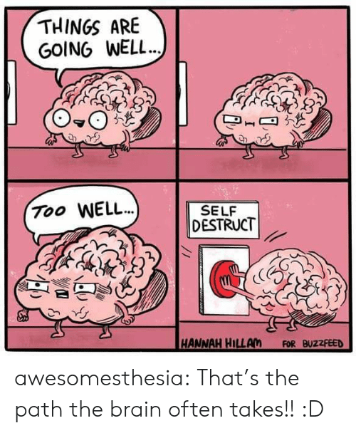 hannah: THINGS ARE  GOING WELL..  Too WELL.)  SELF  DESTRUCT  HANNAH HILLAM  FOR BUZZFEED awesomesthesia:  That's the path the brain often takes!! :D