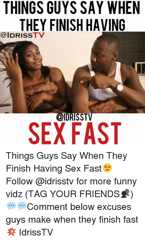 Finish when having sex apologise