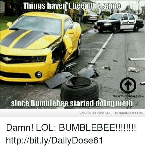 gingers do have souls: Things haventbeenue same  abovetheinfluence.com  since Bumhlehee started doing meth  GINGERS DO HAVE SOULS DAMNLOLCOM Damn! LOL: BUMBLEBEE!!!!!!!!  http://bit.ly/DailyDose61