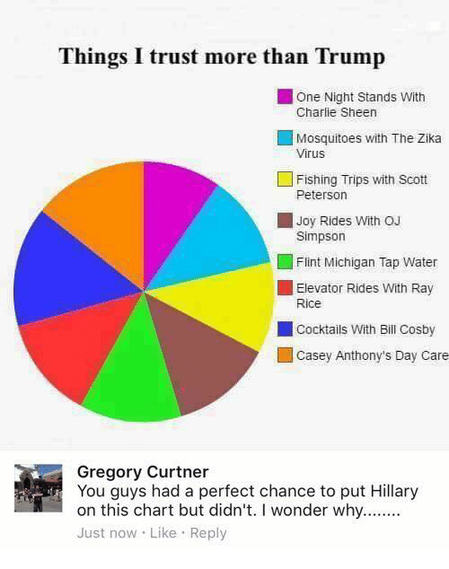 Bill Cosby, Charlie, and Charlie Sheen: Things I trust more than Trump  One Night Stands with  Charlie Sheen  Mosquitoes with The Zika  Virus  L Fishing Trips with Scott  Peterson  Joy Rides with oJ  Simpson  Flint Michigan Tap Water  Elevator Rides  with Ray  Rice  cocktails with Bill Cosby  Casey Anthony's Day Care  Gregory Curtner  You guys had a perfect chance to put Hillary  on this chart but didn't. I wonder why........  Just now Like Reply