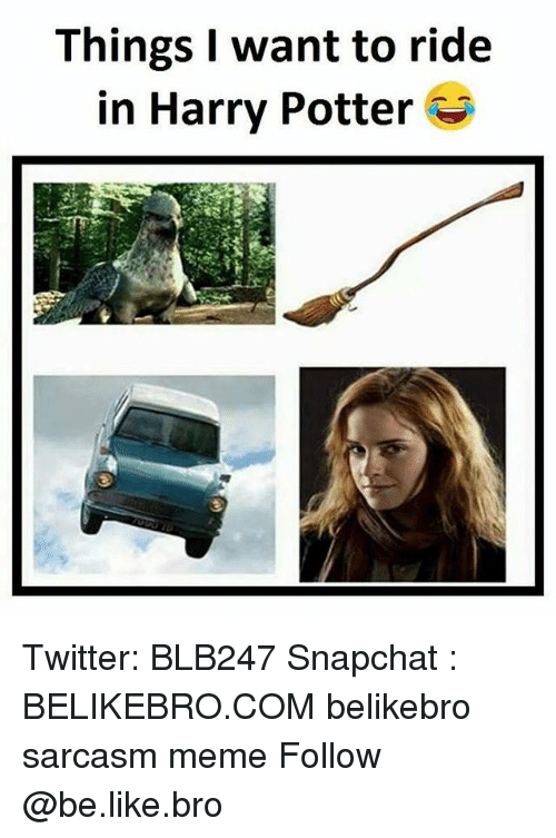 Be Like, Harry Potter, and Meme: Things I want to ride  in Harry Potter Twitter: BLB247 Snapchat : BELIKEBRO.COM belikebro sarcasm meme Follow @be.like.bro