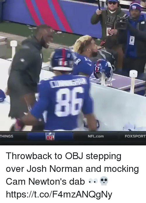 Funny, Josh Norman, and Nfl: THINGS  NEL  NFL com  FOXSPORT Throwback to OBJ stepping over Josh Norman and mocking Cam Newton's dab 👀💀 https://t.co/F4mzANQgNy