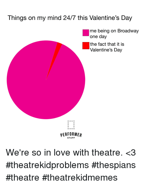 broadway: Things on my mind 24/7 this Valentine's Day  me being on Broadway  one day  the fact that it is  Valentine's Day  PERFORMEAR  STUFF We're so in love with theatre. <3 #theatrekidproblems #thespians #theatre #theatrekidmemes