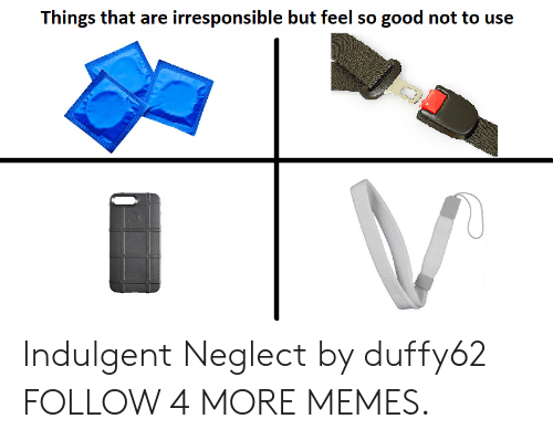 Dank, Memes, and Reddit: Things that are irresponsible but feel so good not to use Indulgent Neglect by duffy62 FOLLOW 4 MORE MEMES.