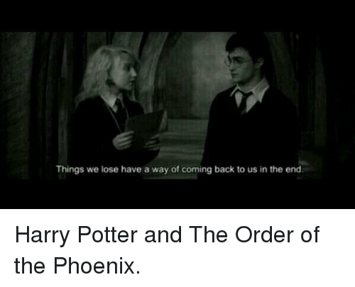 harry potter and the order of the phoenix: Things we lose have a way of coming back to us in the end. Harry Potter and The Order of the Phoenix. ღ