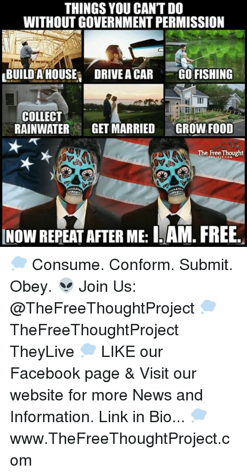 Facebook, Food, and Memes: THINGS YOU CANTDO  WITHOUT GOVERNMENT PERMISSION  LBUILDAHOUSEI DRIVE A CAR GO FISHING  COLLECT  RAINWATER  GET MARRIED  GROW FOOD  The Free Thought 💭 Consume. Conform. Submit. Obey. 👽 Join Us: @TheFreeThoughtProject 💭 TheFreeThoughtProject TheyLive 💭 LIKE our Facebook page & Visit our website for more News and Information. Link in Bio... 💭 www.TheFreeThoughtProject.com