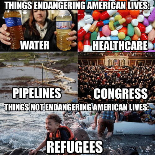 Memes, American, and Water: THINGSENDANGERING AMERICAN LIVES  WATER  HEALTHCARE  PIPELINES  CONGRESS  THINGSYNOTENDANGERINGAMERICAN LIVES  REFUGEES