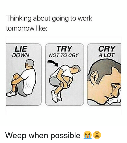 Memes, Work, and Tomorrow: Thinking about going to work  tomorrow like:  LIE  DOWN  TRY  NOT TO CRY  CRY  A LOT Weep when possible 😭😩
