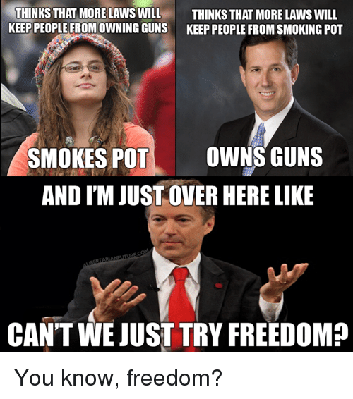 pot: THINKS THAT MORE LAWS WILL  THINKS THAT MORE LAWS WILL  KEEP PEOPLE FROM OWNING GUNS KEEP PEOPLE FROM SMOKING POT  SMOKES POT  OWNS GUNS  AND M JUST OVER HERE LIKE  CANT WE JUST TRY FREEDOM? You know, freedom?