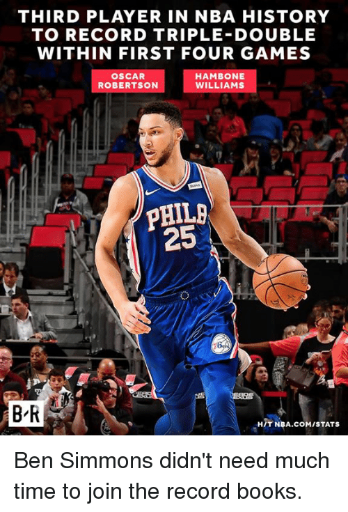 Books, Nba, and Games: THIRD PLAYER IN NBA HISTORY  TO RECORD TRIPLE DOUBLE  WITHIN FIRST FOUR GAMES  OSCAR  ROBERTSON  HAMBONE  WILLIAMS  25  B'R  HIT NBA.COM/STATS Ben Simmons didn't need much time to join the record books.